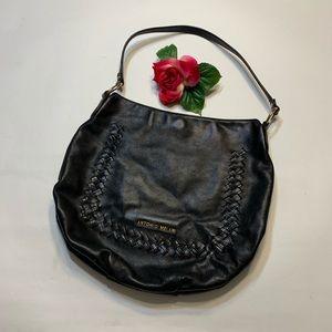 Antonio Melani Black Leather Hobo Bag Purse
